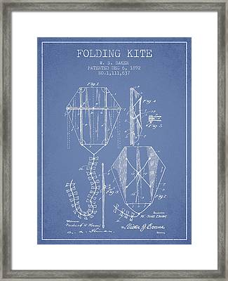 Vintage Folding Kite Patent From 1892 -light Blue Framed Print by Aged Pixel