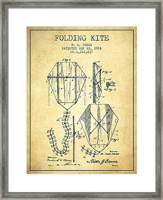 Vintage Folding Kite Patent From 1914 -vintage Framed Print by Aged Pixel