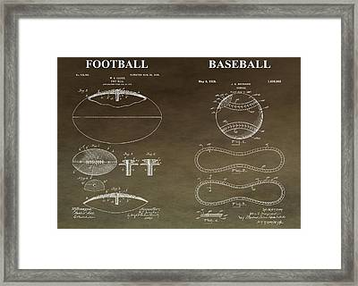 Vintage Football Baseball Patent Framed Print
