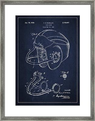 Vintage Football Helment Patent Drawing From 1935 Framed Print