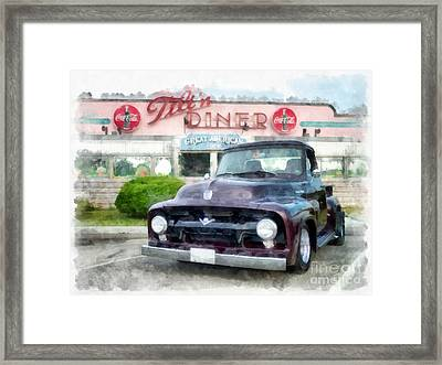 Vintage Ford Pickup At The Diner Framed Print