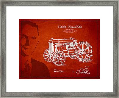 Vintage Ford Tractor Patent Drawing From 1919 Framed Print by Aged Pixel