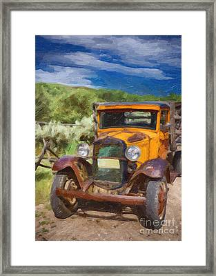 Vintage Ford Truck At Bannack Montana Framed Print by Priscilla Burgers