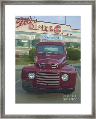 Vintage Ford Truck Outside The Tiltn Diner Framed Print by Edward Fielding