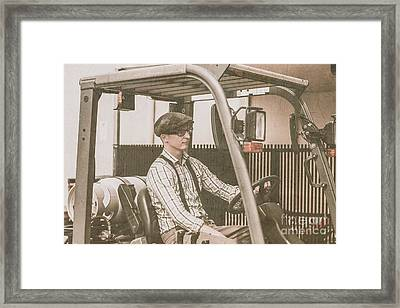 Vintage Forklift Driver Framed Print by Jorgo Photography - Wall Art Gallery