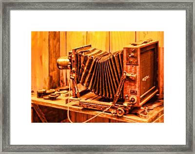 Vintage Format Camera Framed Print by Linda Phelps