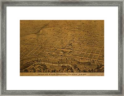 Vintage Fort Worth Texas In 1876 City Map On Worn Canvas Framed Print