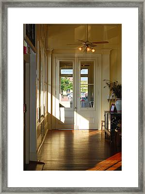 Vintage Foyer Filled With Light - The Ant Street Inn Framed Print by Connie Fox