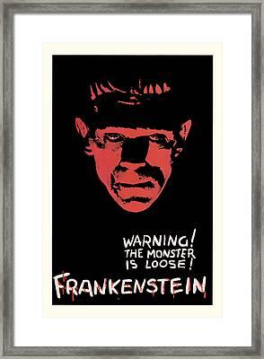 Vintage Frankenstein Movie Art Framed Print by Presented By American Classic Art