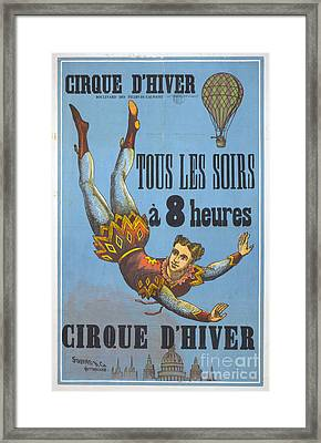 Vintage French Circus Poster Framed Print by Edward Fielding