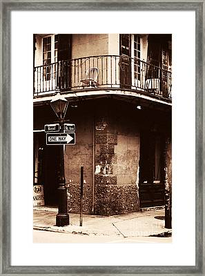 Vintage French Quarter Framed Print by John Rizzuto