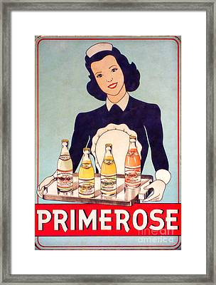 Vintage French Tin Sign Primerose Framed Print by Olivier Le Queinec