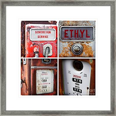 Vintage Fuel Pumps Collage Framed Print