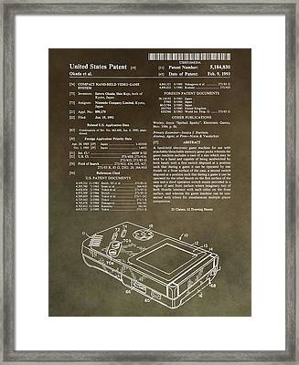Vintage Gameboy Patent Framed Print by Dan Sproul
