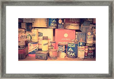 Vintage Gas Service Station Products Framed Print by Edward Fielding