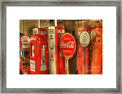 Vintage Gasoline Pumps With Coca Cola Sign Framed Print by Bob Christopher