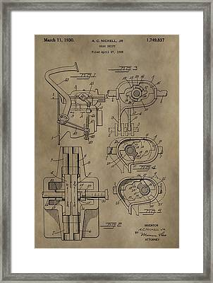 Vintage Gear Shift Patent Framed Print by Dan Sproul