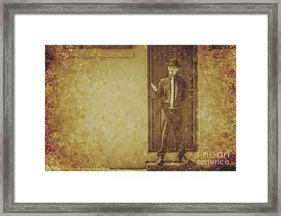 Vintage Gentleman Selling Door To Door Framed Print