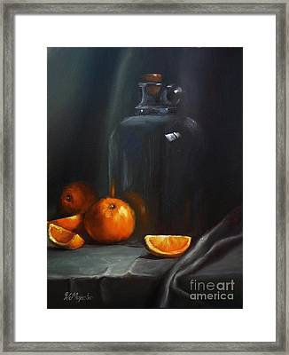 Vintage Glass Jug And  Oranges Framed Print