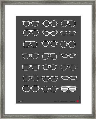 Vintage Glasses Poster 2 Framed Print by Naxart Studio