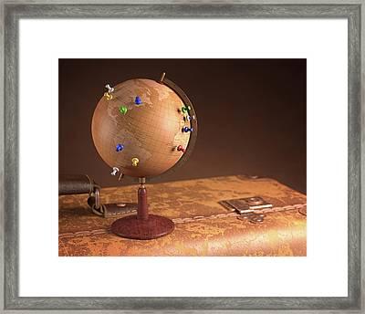 Vintage Globe And Suitcase Framed Print by Ktsdesign