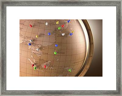 Vintage Globe With Push Pins Framed Print by Ktsdesign