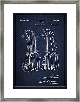 Vintage Golf Cart Drawing From 1943 Framed Print by Aged Pixel