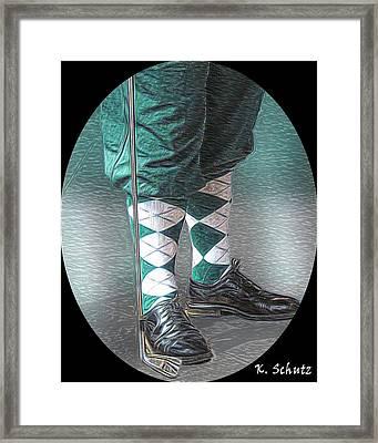 Vintage Golfer Framed Print by Kelly Schutz