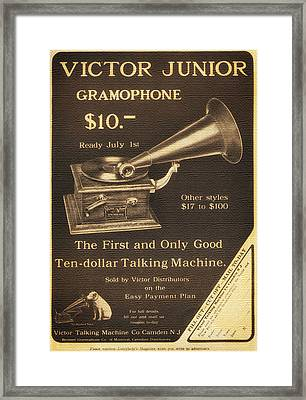 Vintage Gramophone Advertisement 1909 Framed Print by Mountain Dreams