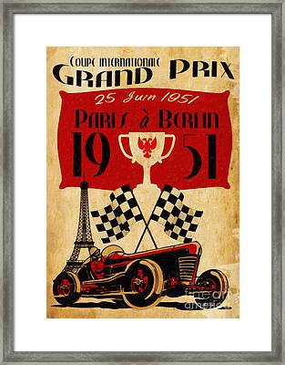 Vintage Grand Prix Paris Framed Print