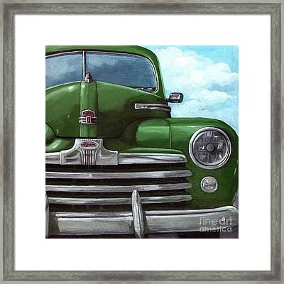Vintage Green Ford Framed Print by Linda Apple