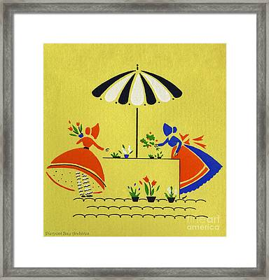 Vintage Greeting.  Ladies In Bonnets Tending Their Garden And Potted Plants  Framed Print by Pierpont Bay Archives