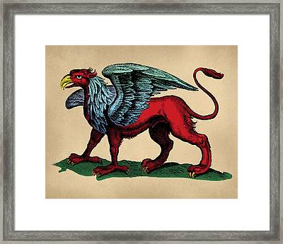 Vintage Griffin Tinted Woodcut Framed Print by Flo Karp