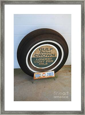 Framed Print featuring the photograph Vintage Gulf Tire With Ad Plate by Lesa Fine