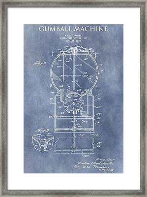 Vintage Gumball Machine Patent Framed Print by Dan Sproul