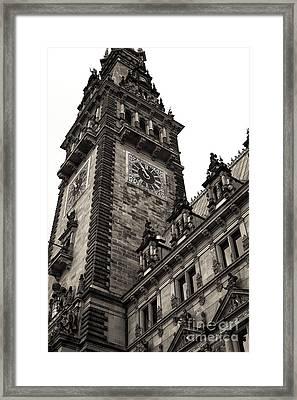 Vintage Hamburg Rathaus Tower Framed Print by John Rizzuto