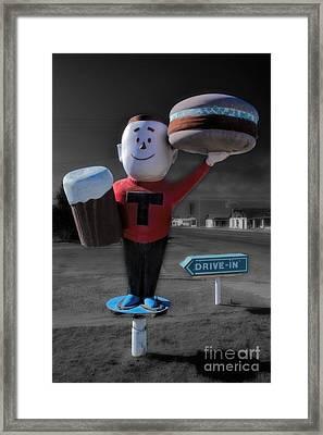 Vintage Hamburger Drive In Framed Print by Henry Kowalski