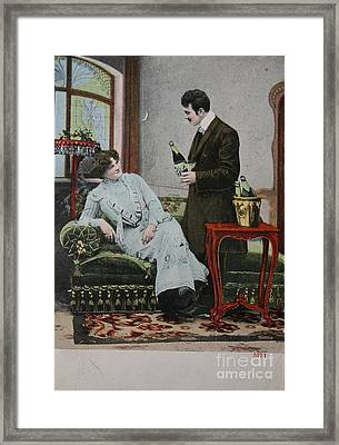 Vintage Handtinted Postcard Of 1904 Of Two Lovers Framed Print