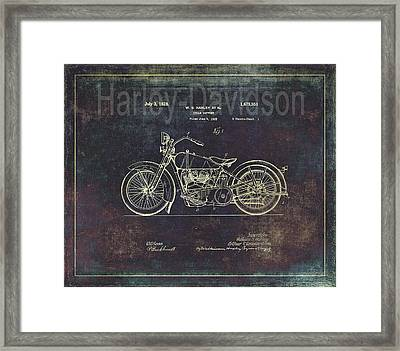 Vintage Harley - Davidson Motorcycle Patent Drawing Framed Print by Maria Angelica Maira