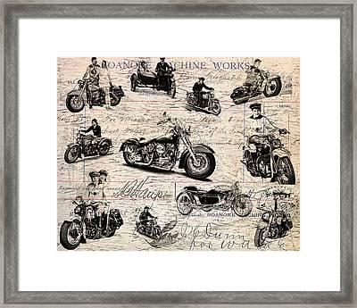 Vintage Harley Davidson Poster Framed Print by Eti Reid