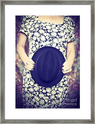 Vintage Hat Flower Dress Woman Framed Print