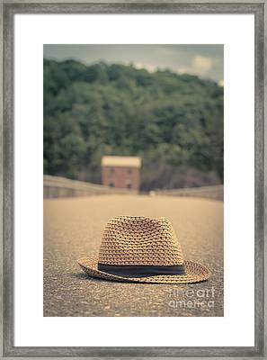 Vintage Hat In The Road With House Beyond Framed Print by Edward Fielding
