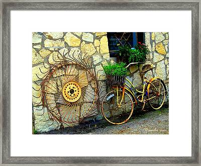 Antique Store Hay Rake And Bicycle Framed Print by ARTography by Pamela Smale Williams