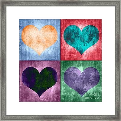 Vintage Hearts Framed Print