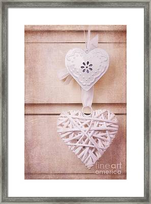 Vintage Hearts With Texture Framed Print by Jane Rix