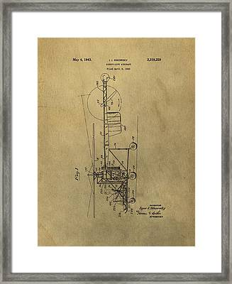 Vintage Helicopter Patent Framed Print by Dan Sproul