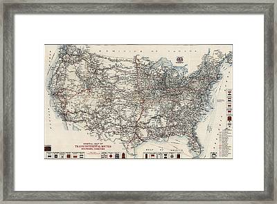 Vintage Highway Map Of The United States By The American Automobile Association - 1918 Framed Print by Blue Monocle