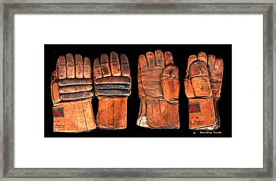 Vintage Hockey Gloves #1 Framed Print