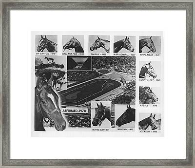 Vintage Horse Racing Head Shots Seattle Slew Framed Print by Retro Images Archive