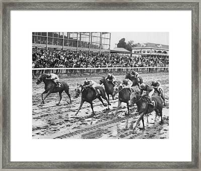 Vintage Horse Racing Muddy Conditions Framed Print by Retro Images Archive
